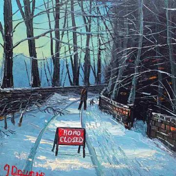 James Downie Original Oil Painting Road Closed Due To Snow